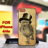Owl Vintage Retro For IPhone 4 or 4S Black Case Cover
