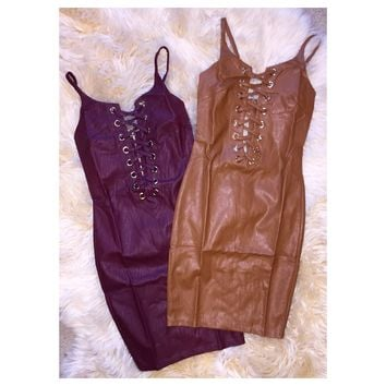 Laced Up Faux Leather Dress