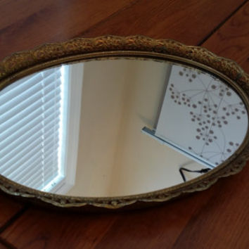 Vintage Ornate Gold Toned Hollywood Regency Style Mirrored Dresser Vanity Tray Wall Mirror