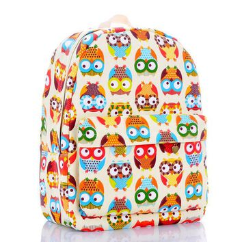 DCCKIX3 Cats Canvas Lovely Owl Cute Backpack = 4887736772