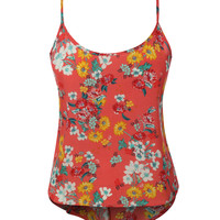 LE3NO Womens Flowy Floral Print Spaghetti Strap Crop Top (CLEARANCE)