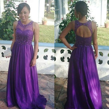 A-Line Purple Beads Sleeveless Prom Dresses,Prom Dress