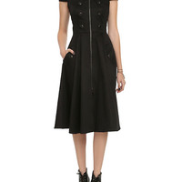 Black Zipper & Button Dress