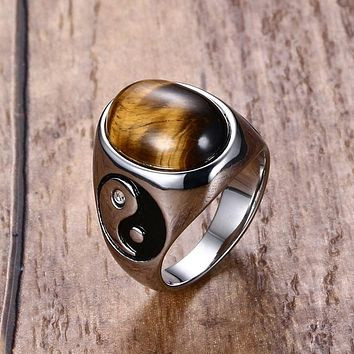 Vintage Men Boy Oval Tiger Eye Brown Stones with Yin Yang Symbol Ring in Stainless Steel Jewelry Mens Accessories Anel Aneis