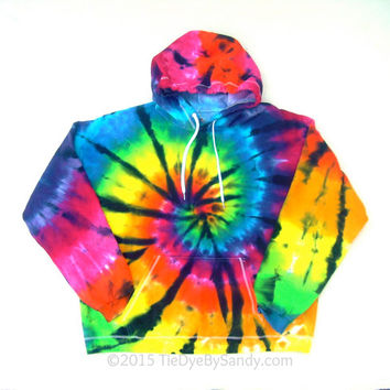 2XL Tie-Dye Sweatshirt-Stained Glass Rainbow Spiral Hoodie