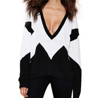 Black White Contrast V-neck Long Sleeve Sweater