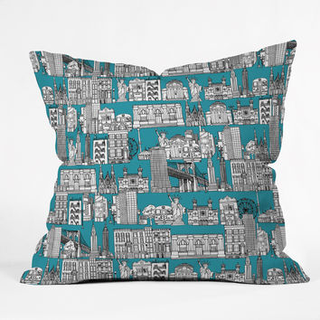 Sharon Turner New York Teal Outdoor Throw Pillow