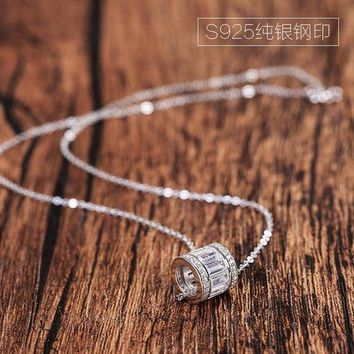 ac spbest AAA 100% Silver 925 Necklace Cubic Zirconia Women Silver Pendant Necklace Cylinder Zircon Necklace Sterling Silver Jewelry