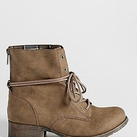 Jade faux suede combat bootie in taupe | maurices