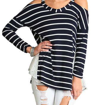 Striped Open Shoulder Top