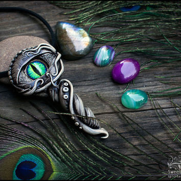 Dragon eye pendant Clay fantasy pendant Faery pendant Lizard eye necklace Mystical pendant Pagan clay pendant FREE SHIPPING