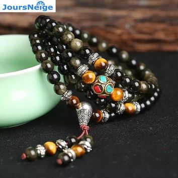 JoursNeige Natural Gold Obsidian Stone Bracelets 6mm 108 Beads with Tiger Eye Stone for Men Women Crystal Bracelet Jewelry