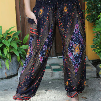 Unisex Harem Pants / Yoga pants / Hippie Pants /Boho Pants Peacock Design in Black