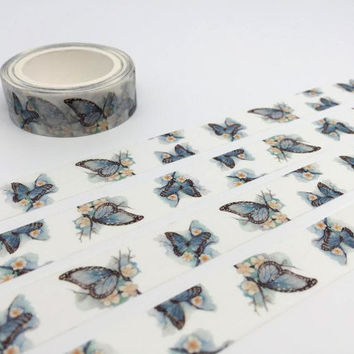 Butterfly tape 10M dancing butterfly washi tape blue butterfly deco sticker tape butterfly gift wrapping removable adhesive tape scrapbook
