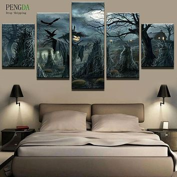 PENGDA Pictures HD Print Canvas Painting On 5 Panel Scarecrows Oil Paintings Wall For Living Room Cuadros Frames Picture