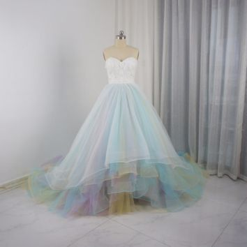 Tulle Blue Pink Colorful Wedding Dresses Bridal Gown 3D Flower Corset Ball Gown