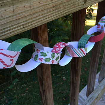 Paper Chain Kit, DIY Christmas Garland, Holiday Decoration, Children's Party Decor, Kids Craft, Christmas Red and Green, Party Supply