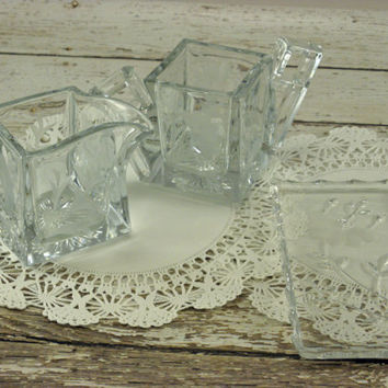Vintage Heisey sugar and creamer set etched pressed glass square handles on a rare plate tray Flower design