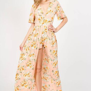 2018 Spring Women's Peach Floral Maxi Romper With Surplus the New Misses Line