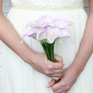 "Real Touch Small Hand-Tied Calla Lily Wedding Bouquet in Lavender - 13"" Tall"