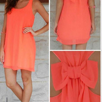 Orange Bow Back Chiffon Sleeveless Shift Mini Dress