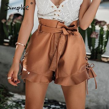 Simplee Side lace up black Leather shorts Women cinched belt eyelet high waist shorts 2017 autumn camel short paperbag bottom