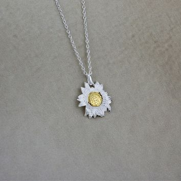 925 sterling silver personalized sun sunflower Necklace,a perfect gift !