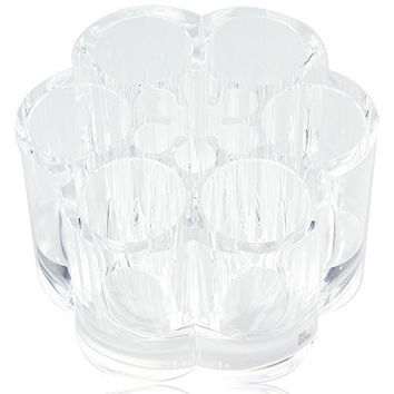 PuTwo Acrylic Flower Cosmetic and Makeup Brush Holder with 12 Spaces