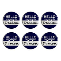 Davian Hello My Name Is Plastic Resin Button Set of 6