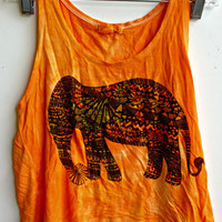 Orange Elephant Tank Top Size X-Small-Small Tie Dye T-shirt Tank Top