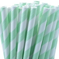 "25 Paper Drinking Straws Mint Green Stripes 7.75"" Retro Vintage Style Durable"