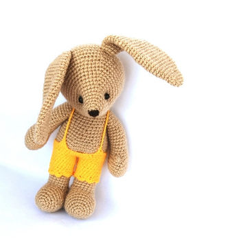 bunny, crocheted bunny, stuffed beige rabbit with yellow short, girl bunny, amigurumi bunny, Easter gift, toy for children