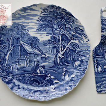 Vintage English Staffordshire Blue Transferware Cake Plate / Platter & Spatula Pastry or Pie Server