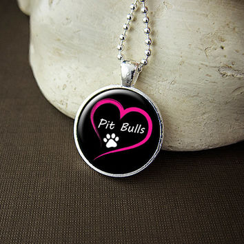 Love Pit Bulls Glass Pendant Necklace, Pitbull Lover Gift, Dog Lover, Paw Print Dog Breed Jewelry