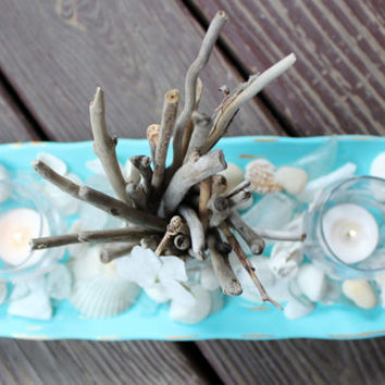 Seaside Chic Table Centerpiece , Natural Driftwood, Sea Glass , Seashells - Beach Decoration