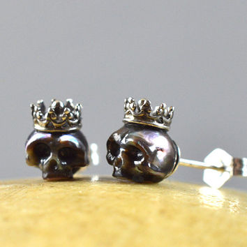 Carved Pearl Skulls Wearing Sterling Silver Crowns with Sterling Silver Backs - Holiday Gift - Pearl Earrings - Skull Earrings - Unique