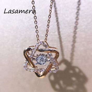 LASAMERO Halo 0.162 CTW Round Cut Center diamond Pave Set 18k Gold Natural Diamond Pendant Necklace