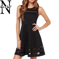 Face N Face Womens Summer Dress 2016 Fashion Slim Sheer Mesh Sleeveless Dresses New Casual Little Black Short Mini Flare Dress