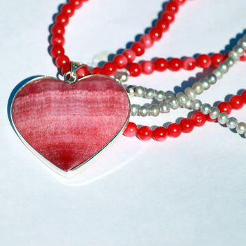 Rhodochrosite Heart with Coral and Pearl Bead Necklace