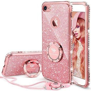DCK4S2 iPhone 7 Case, iPhone 8 Case, Glitter Cute Phone Case Girls with Kickstand, Bling Diamond Rhinestone Bumper with Ring Stand Thin Soft Protective Pink Apple iPhone 7 / 8 Case for Girl Women - Rose Gold