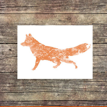 Fox Watercolor- Fox Print -Zoo Print - Instant Download - Digital Art - Nursery Decor - Animal  Art - Desk Art - Dorm Art