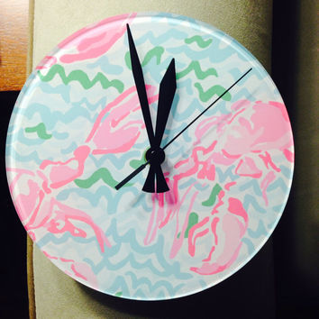 "Lilly Pulitzer Inspired ""Lobstah Roll"" Clock - Perfect for Home or Office!"