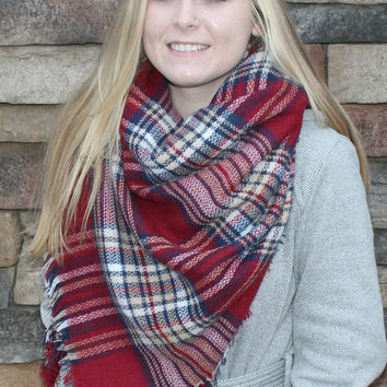Monogram Blanket Scarf Oversized Plaid Tartan Shoulder Wrap Winter Shawl Sale