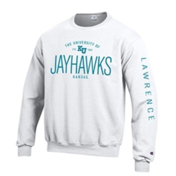 KU Bookstore - University of KU Lawrence Jayhawks White Crew