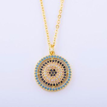 Micro Pave Colorful Crystals | Greek Eye Evil Eye Turkish Eye | Hot Ladies Necklace