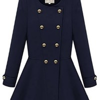 Navy Blue Gold Long Sleeve Scoop Neck Double Breasted Button Pleated Flare Peplum Waist Coat