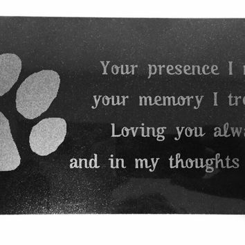 3D Laser Engraved Black Granite Stone Pet Memorial Marker 12 x 6 inches (Paw Print)