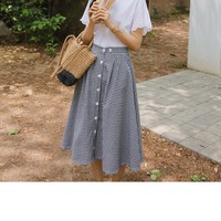 Buy JUSTONE Buttoned Gingham Midi Flare Skirt | YesStyle