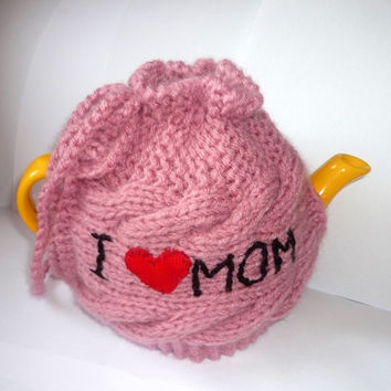 TeaPot Cozy, Gift for Mom, Knitted tea cosy, tea pot cozy -  I love Mom  , Mothers day gift
