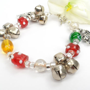 Holiday Bracelet, Christmas Jewelry, Jingle Bells Bracelet